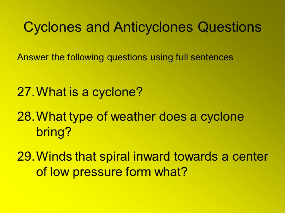 Cyclones and Anticyclones Questions