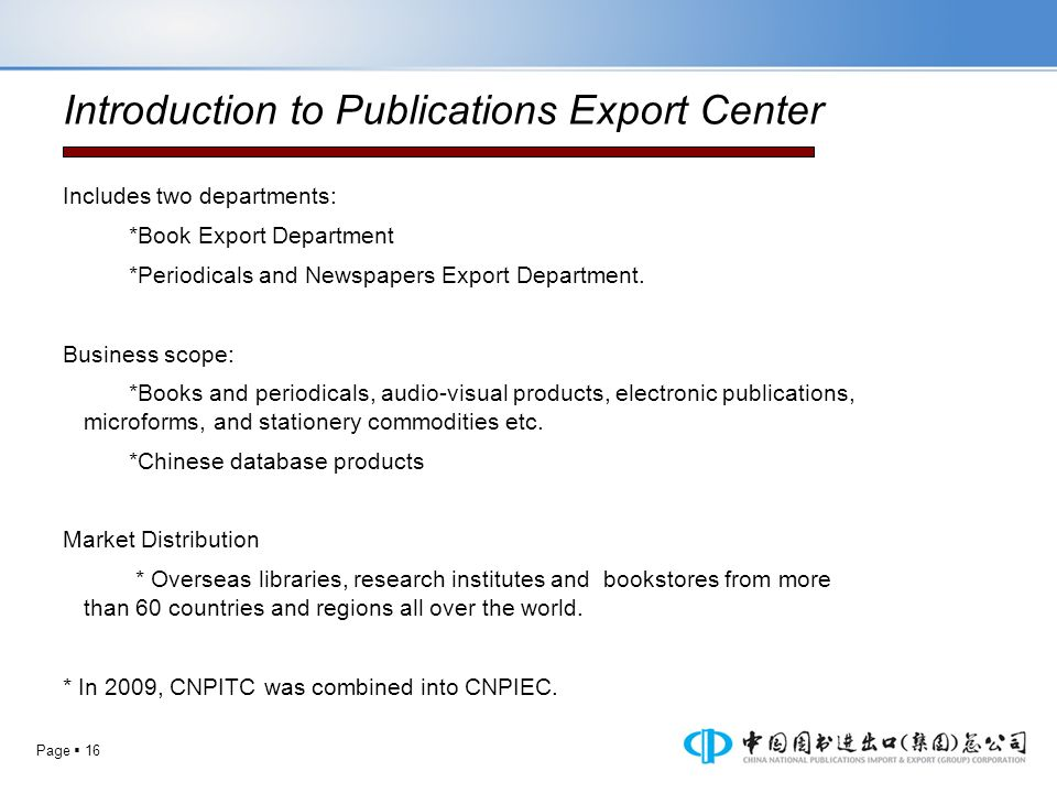 Introduction to Publications Export Center