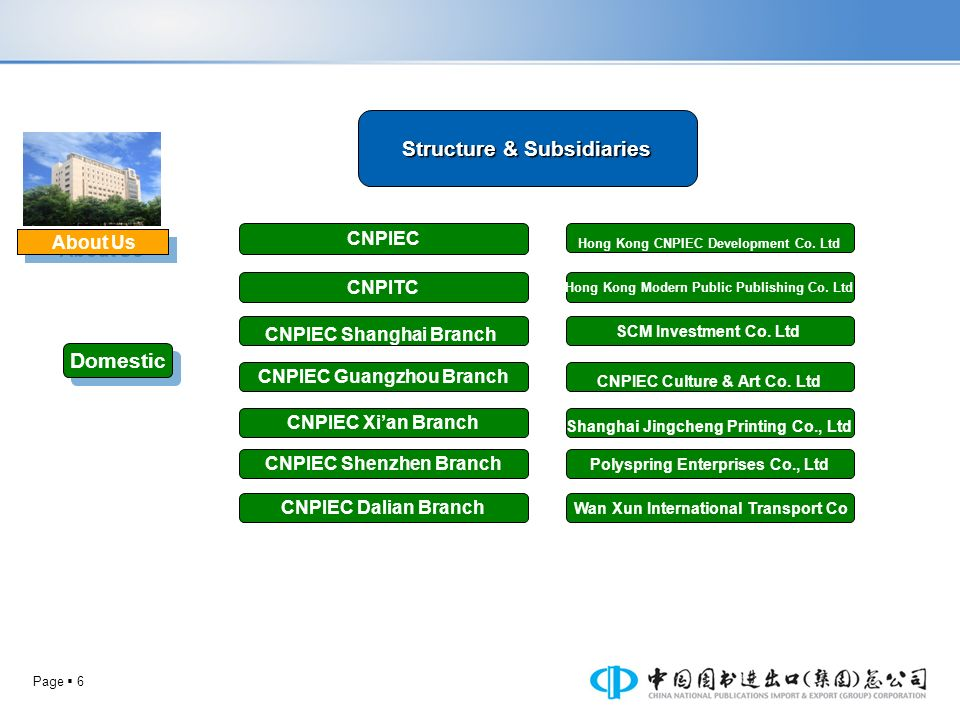 Structure & Subsidiaries Domestic