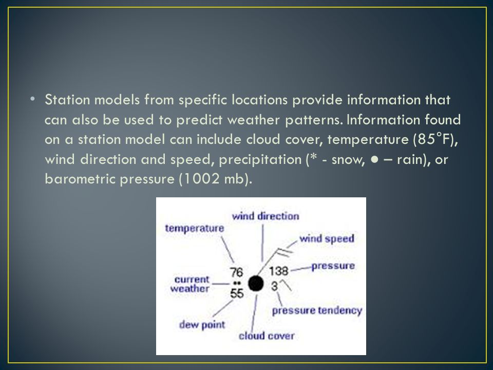 Station models from specific locations provide information that can also be used to predict weather patterns.