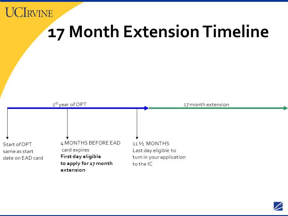 17 Month Extension Timeline