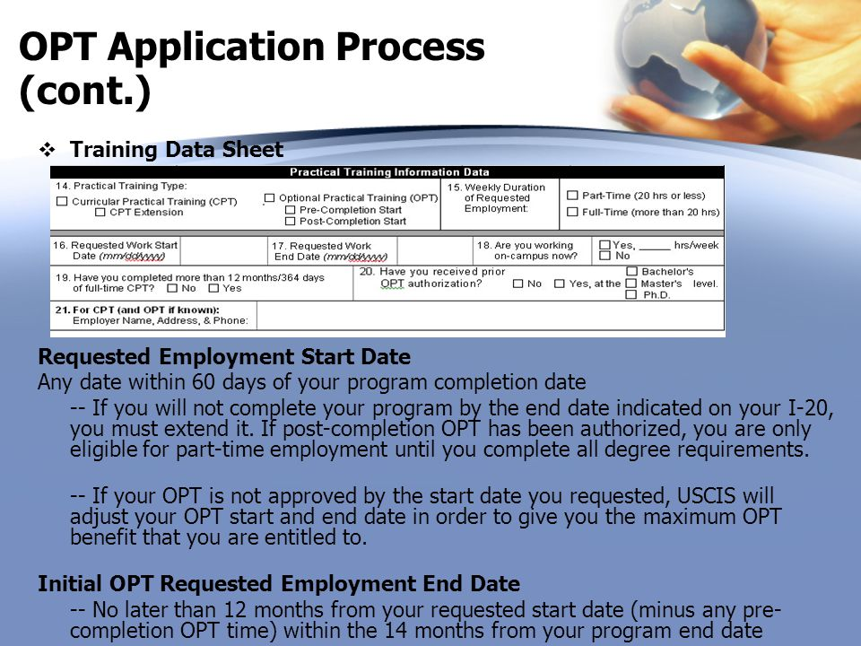OPT Application Process (cont.)