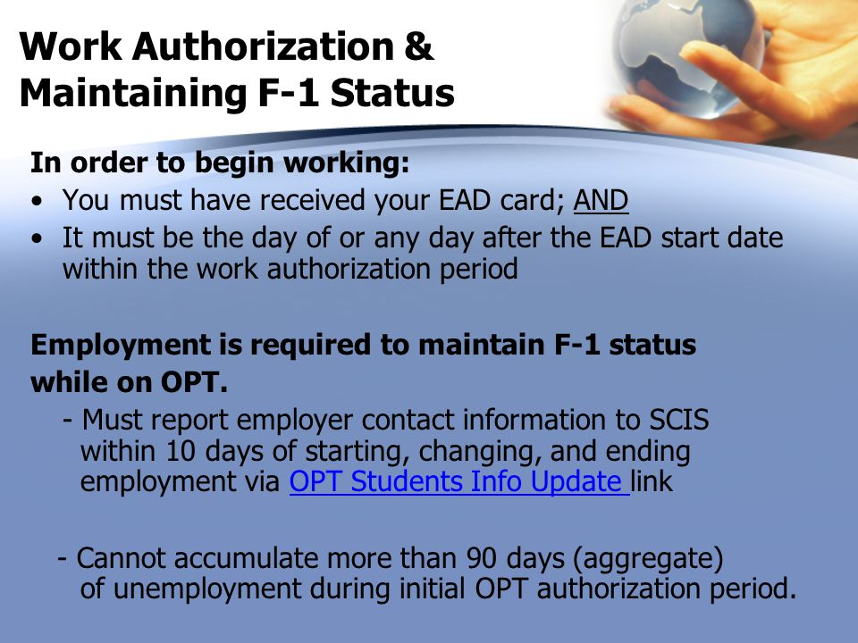 Work Authorization & Maintaining F-1 Status