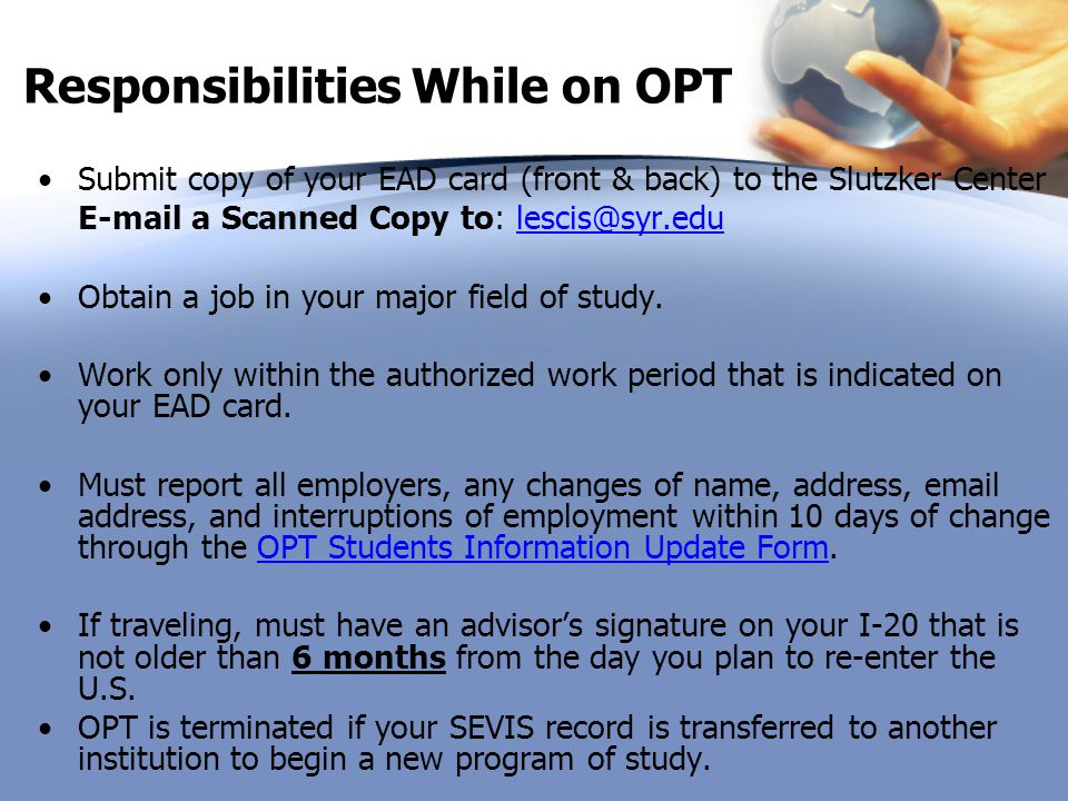 Responsibilities While on OPT