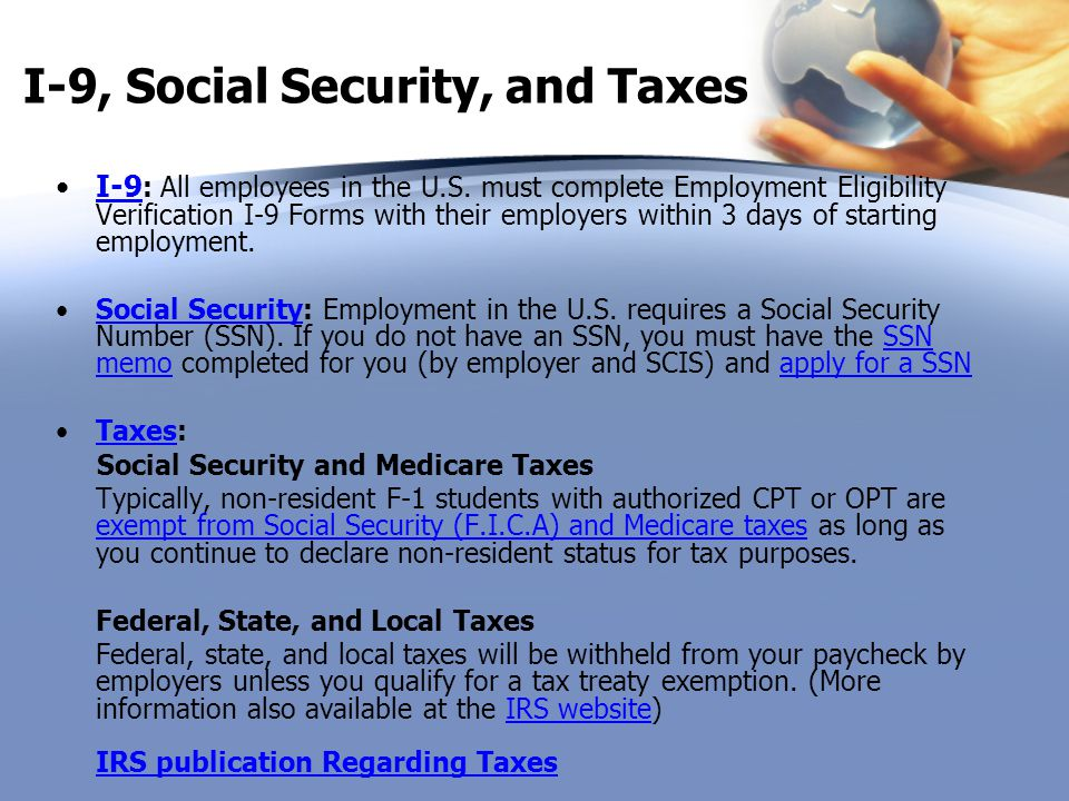 I-9, Social Security, and Taxes