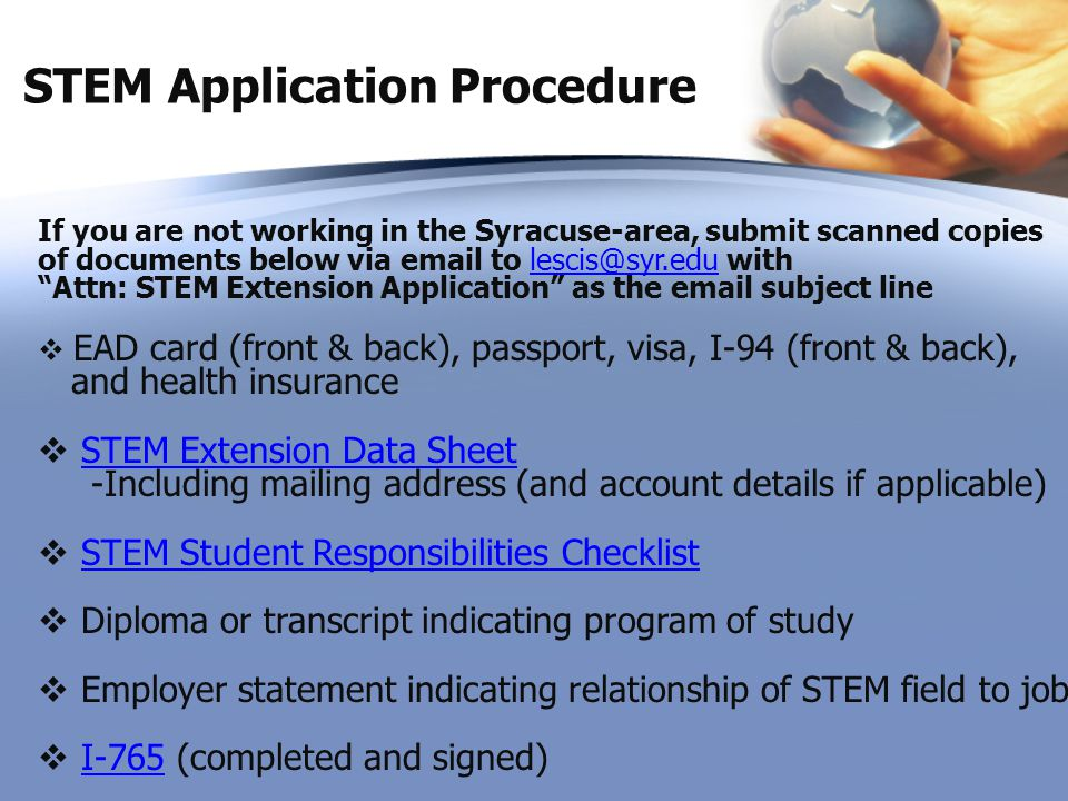 STEM Application Procedure