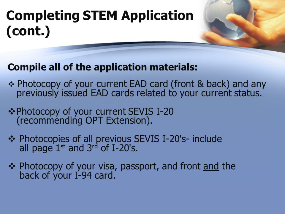 Completing STEM Application (cont.)