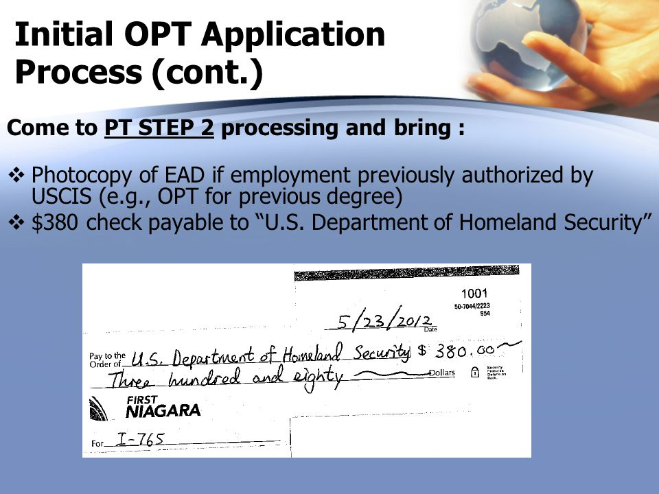 Initial OPT Application Process (cont.)