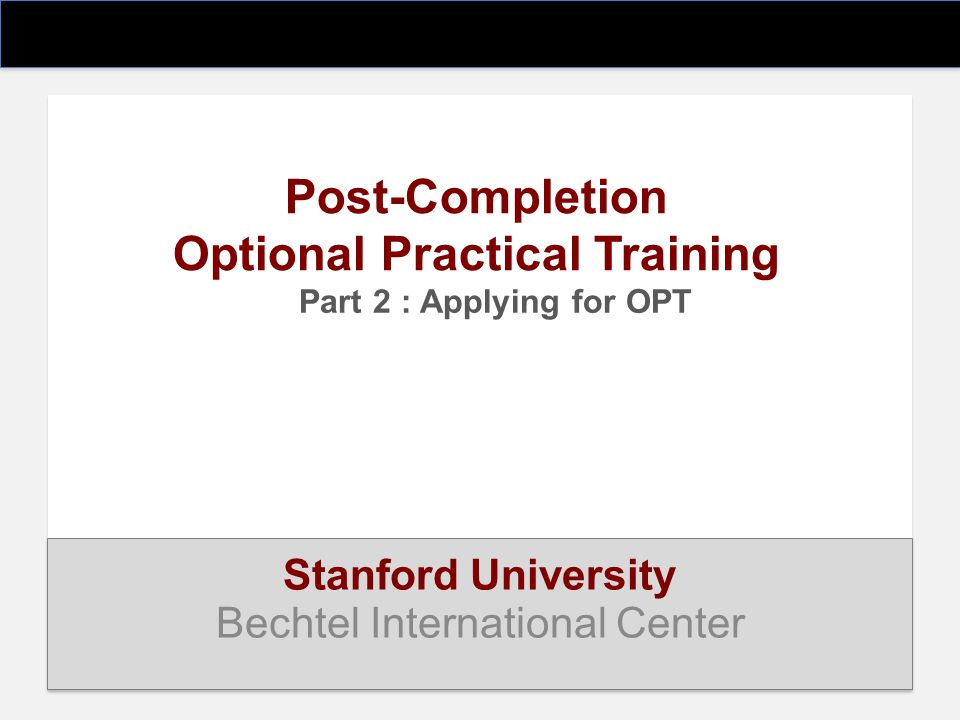 Post-Completion Optional Practical Training