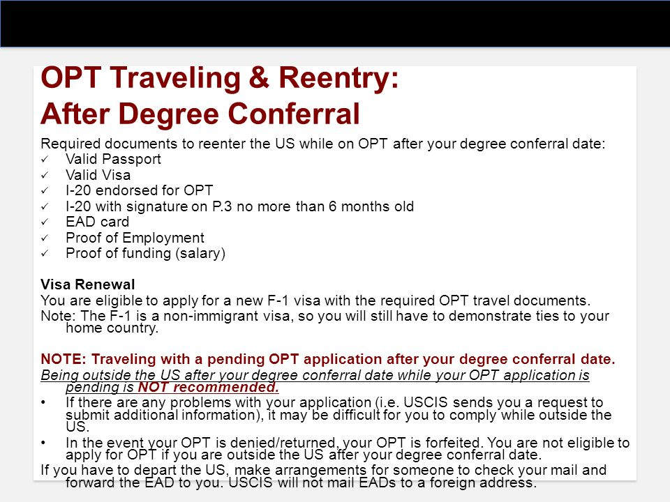 OPT Traveling & Reentry: After Degree Conferral