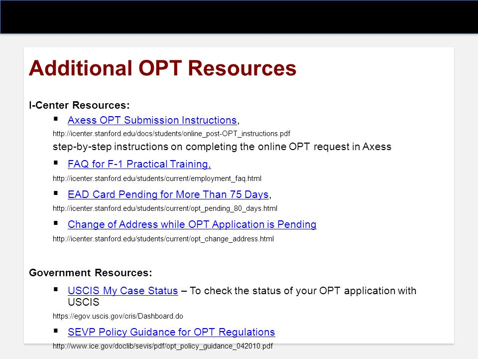 Additional OPT Resources