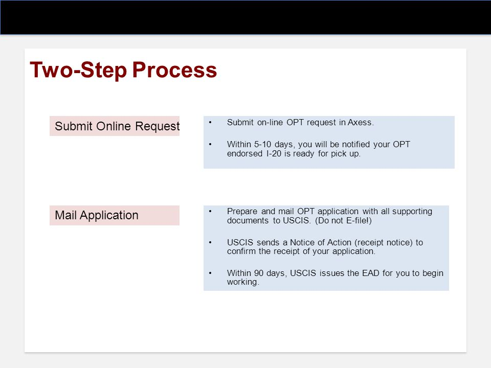 Two-Step Process Submit Online Request Mail Application