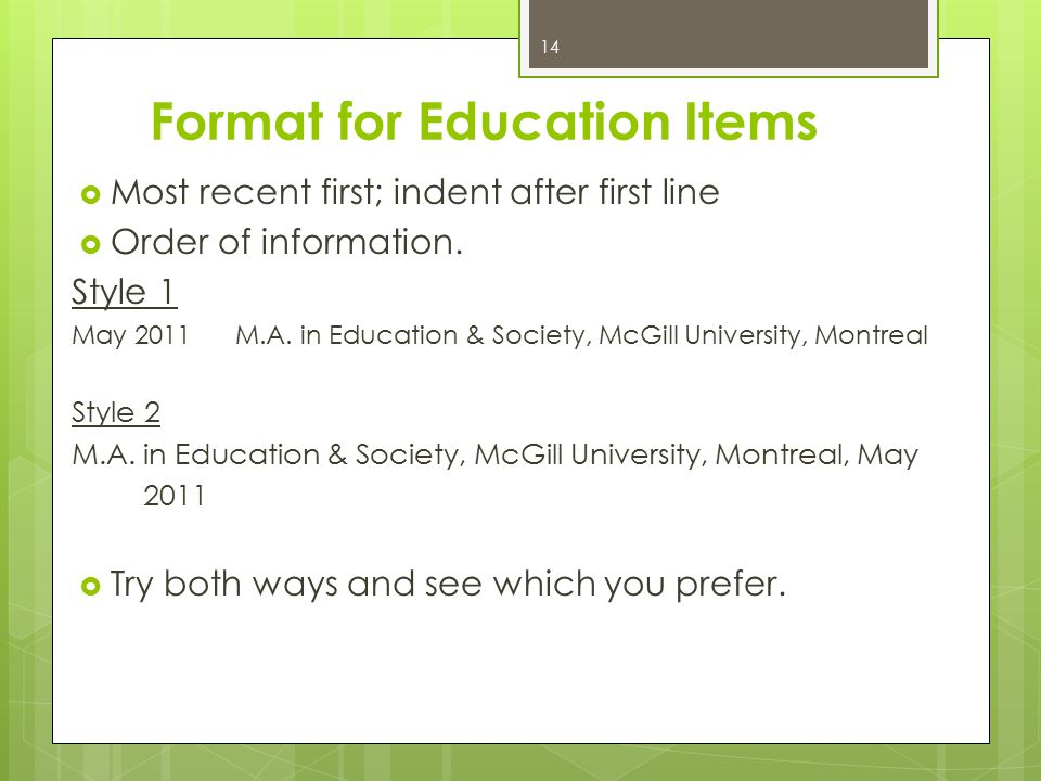 Format for Education Items