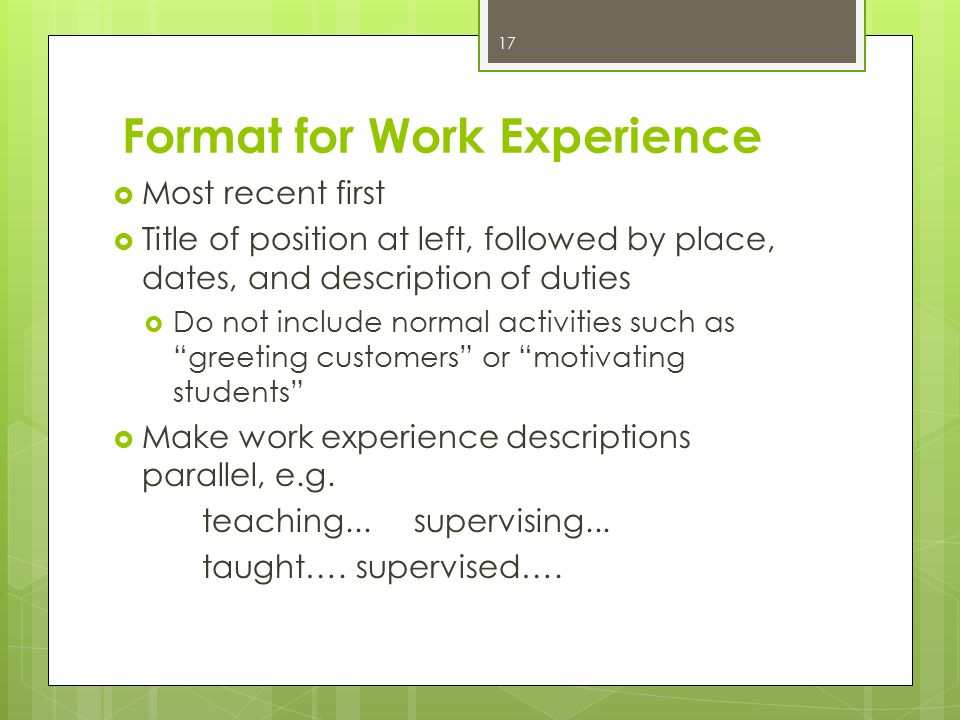 Format for Work Experience