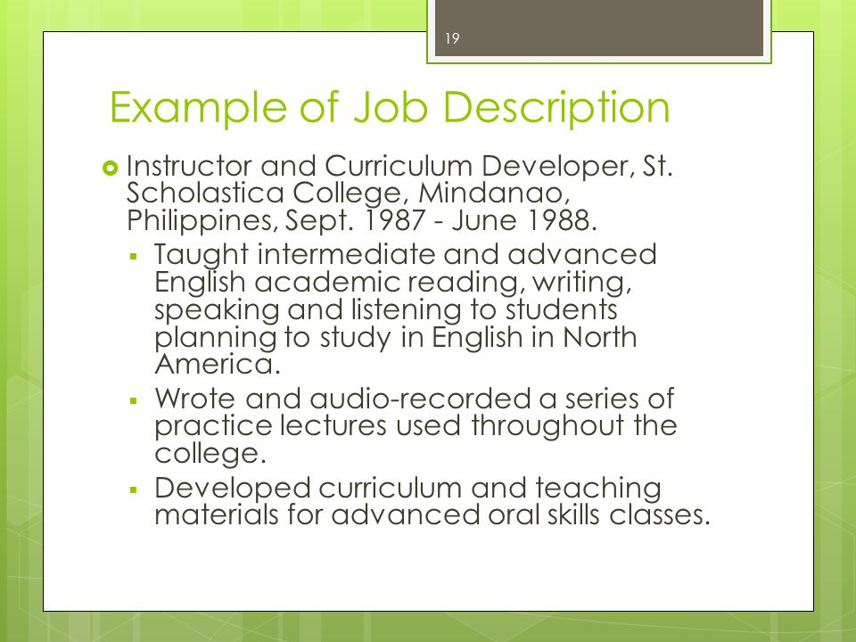 Example of Job Description