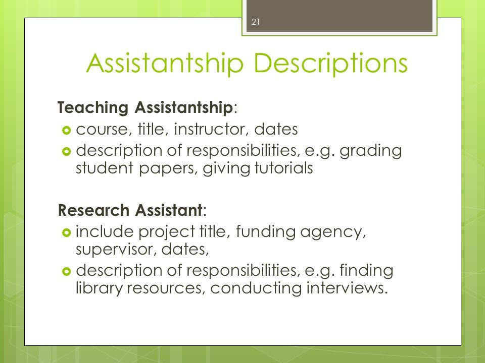 Assistantship Descriptions