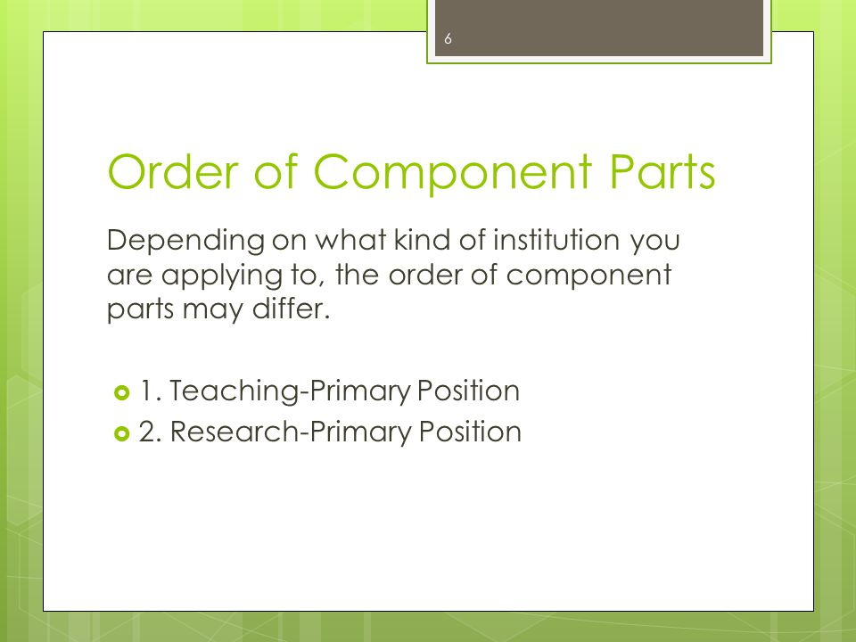 Order of Component Parts