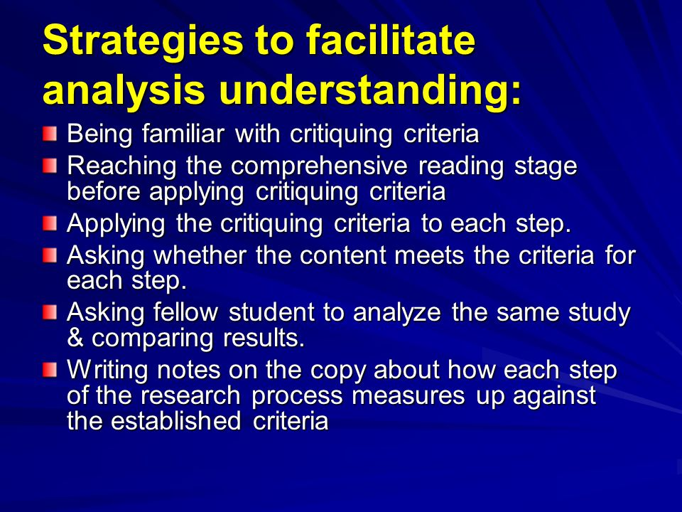 Strategies to facilitate analysis understanding: