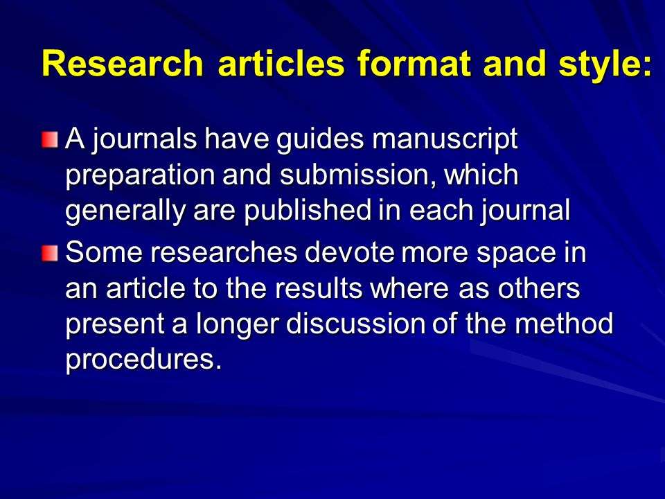 Research articles format and style:
