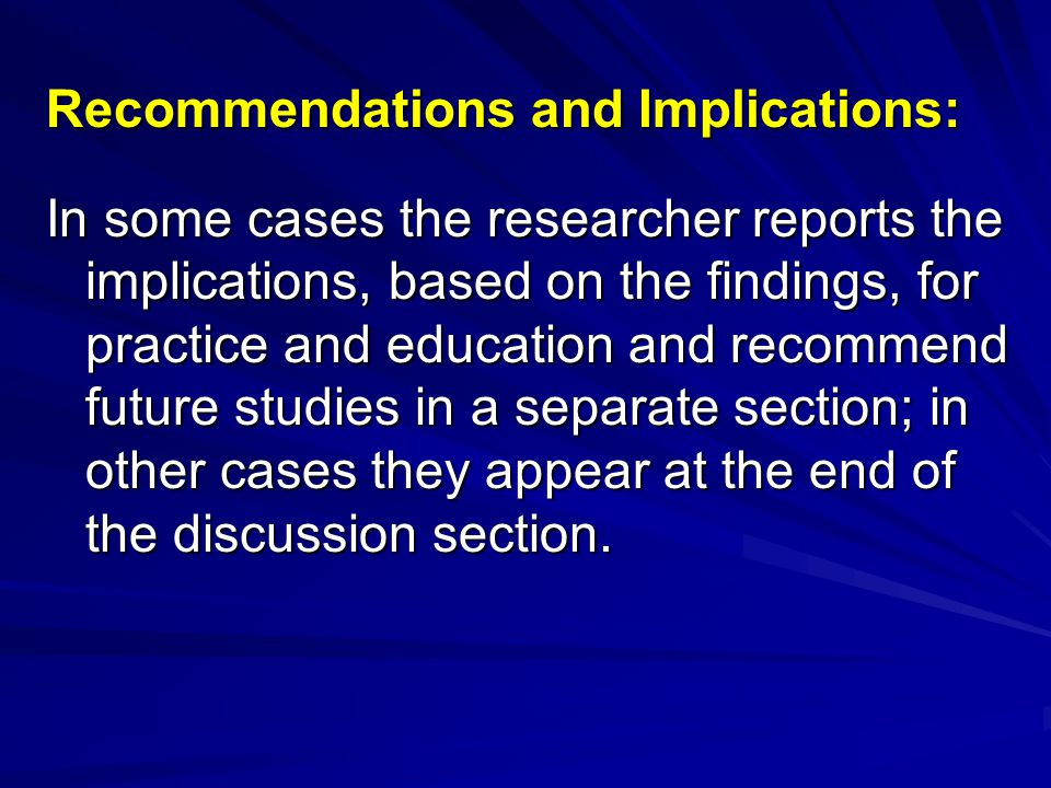 Recommendations and Implications: