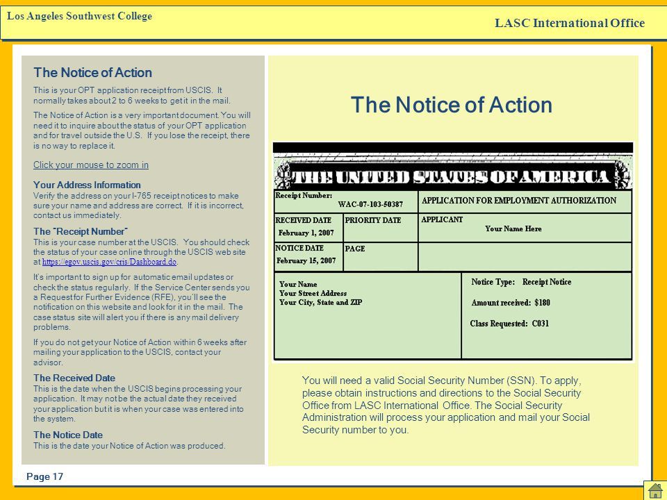 The Notice of Action LASC International Office The Notice of Action