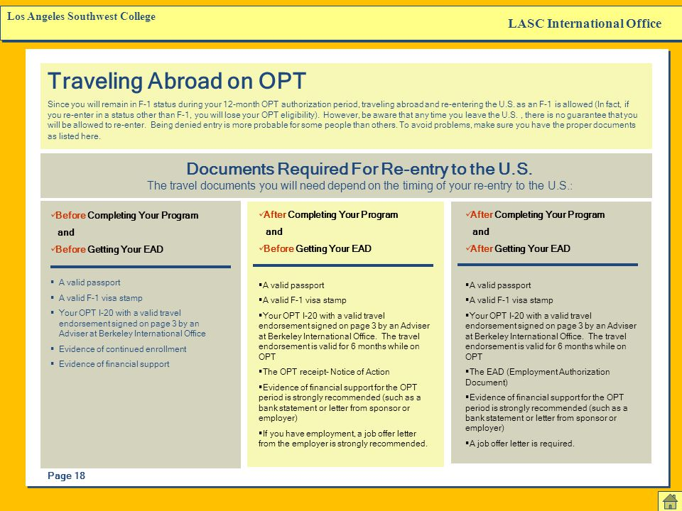 Traveling Abroad on OPT