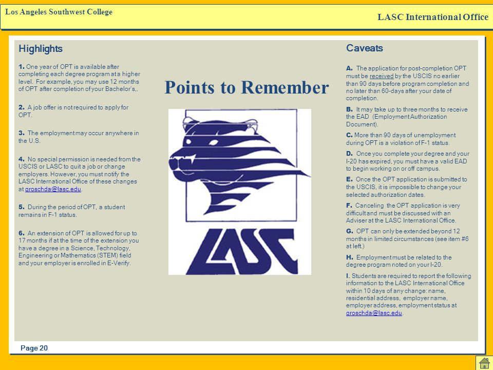 Points to Remember LASC International Office Highlights Caveats