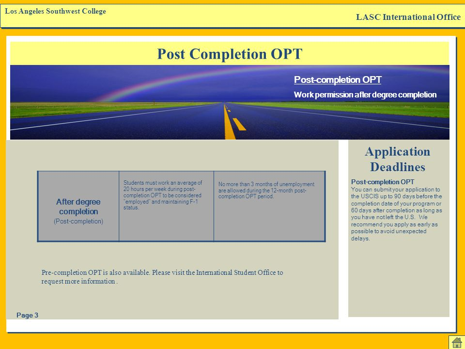 Application Deadlines After degree completion