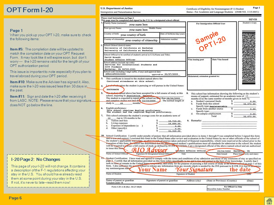 BIO Adviser OPT Form I-20 Sample OPT I-20