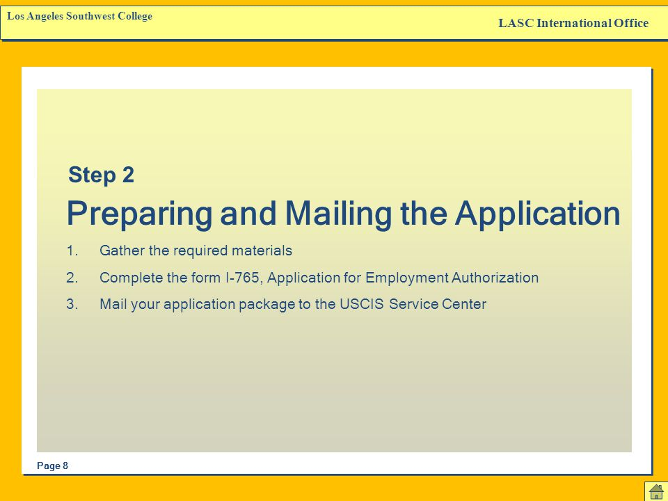 Preparing and Mailing the Application