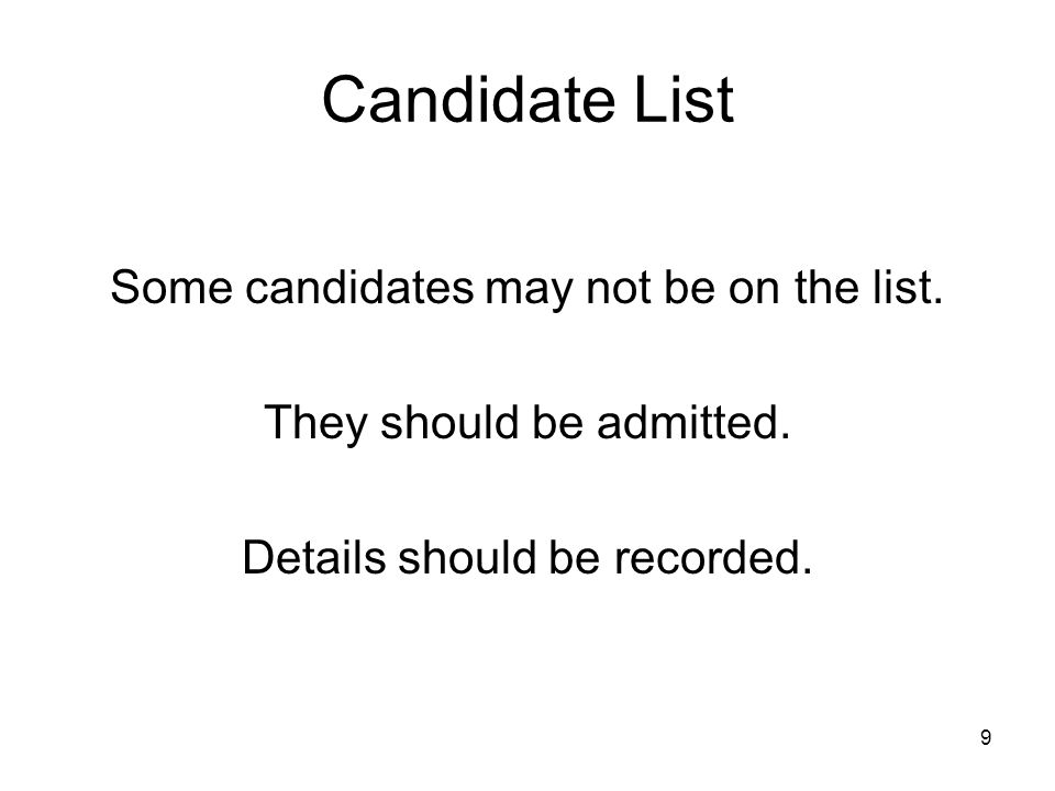 Candidate List Some candidates may not be on the list.