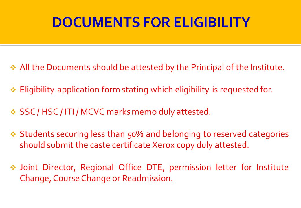 DOCUMENTS FOR ELIGIBILITY