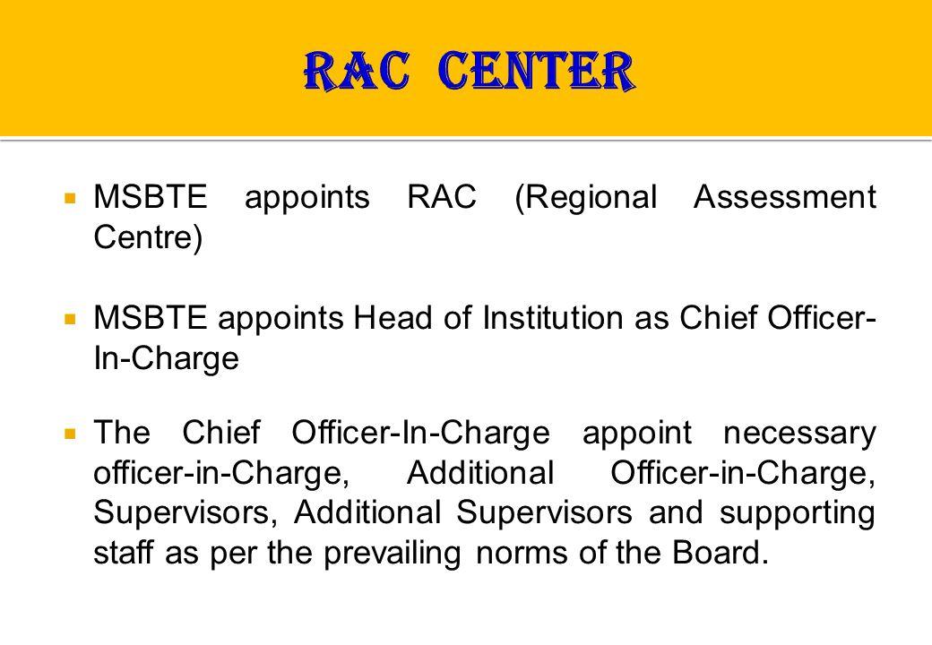 RAC CENTER MSBTE appoints RAC (Regional Assessment Centre)