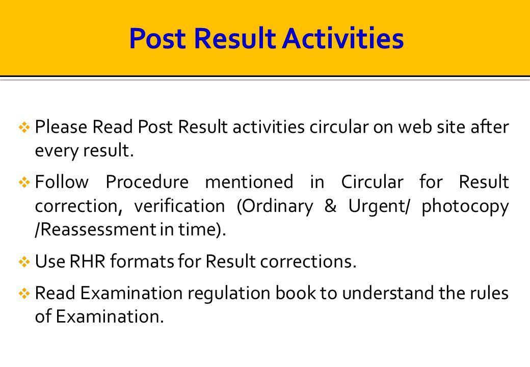 Post Result Activities