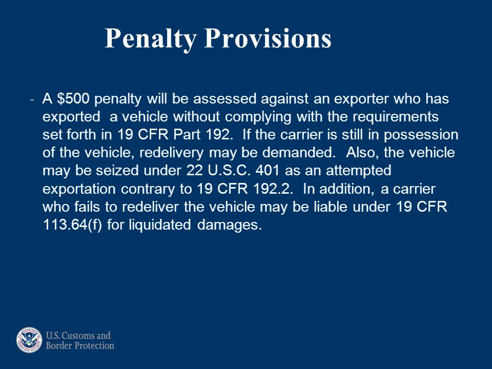 Penalty Provisions