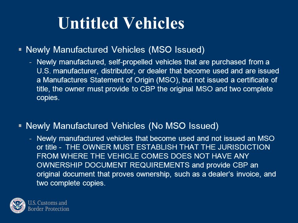 Untitled Vehicles Newly Manufactured Vehicles (MSO Issued)
