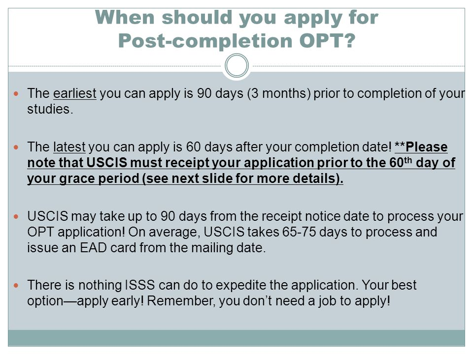 When should you apply for Post-completion OPT