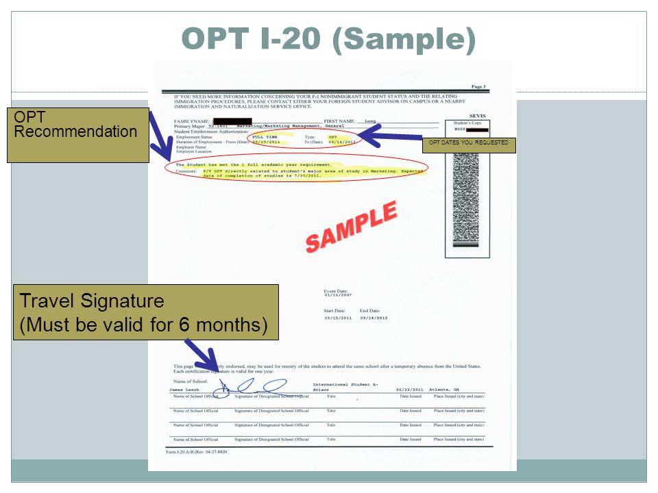 OPT I-20 (Sample) SAMPLE Travel Signature (Must be valid for 6 months)