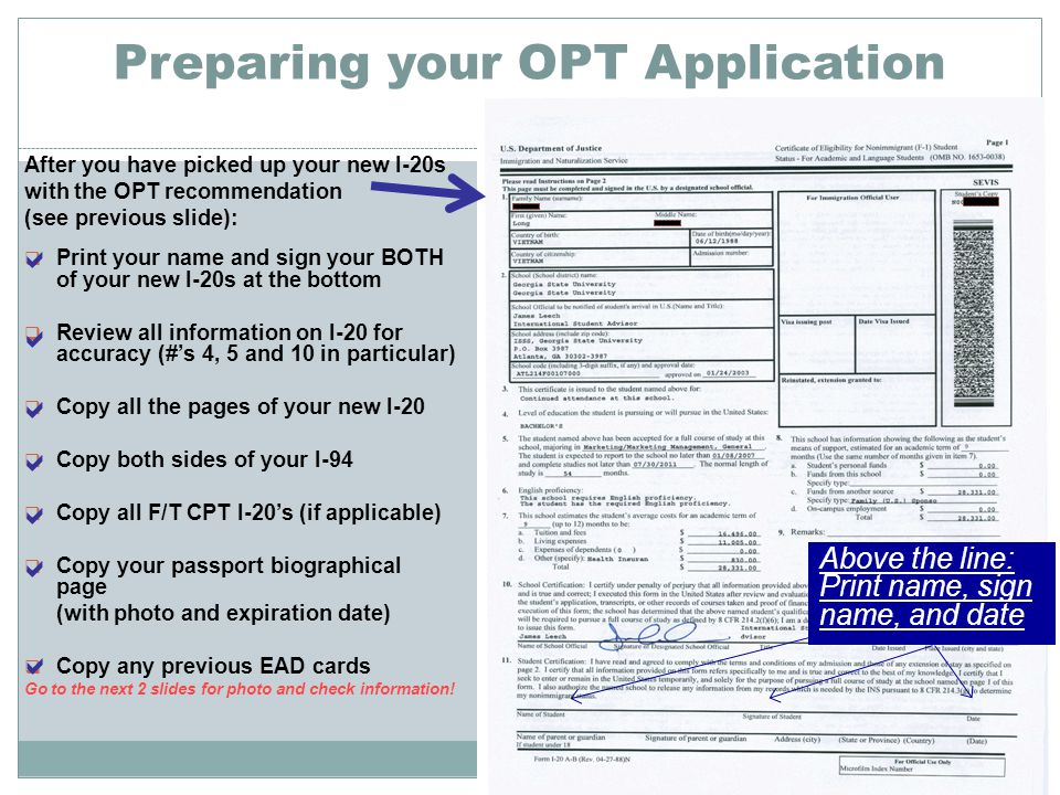 Preparing your OPT Application