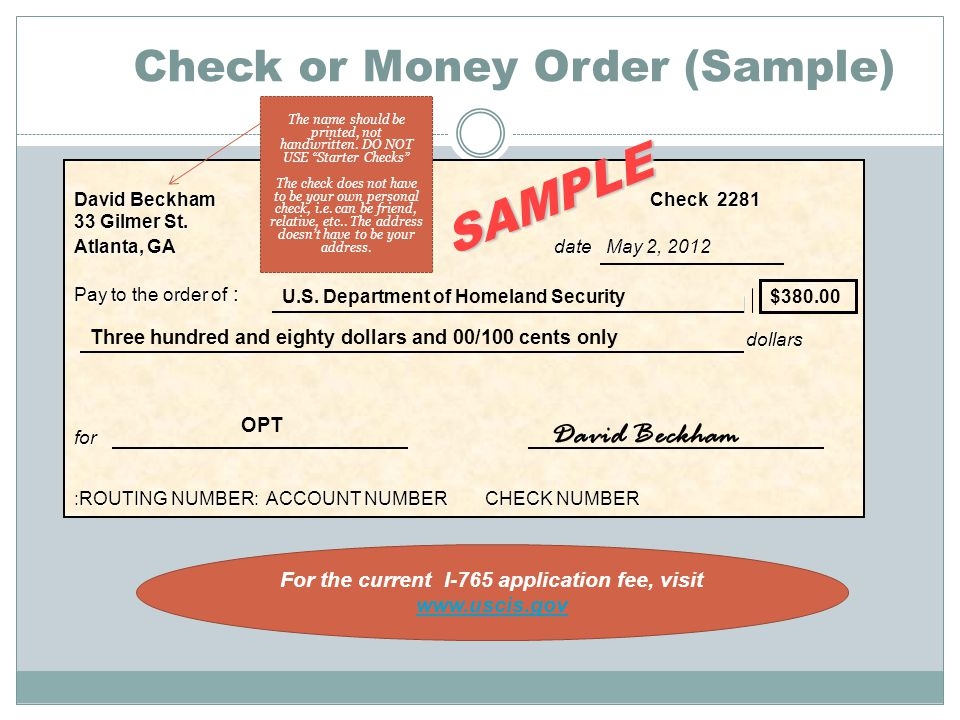 Check or Money Order (Sample)
