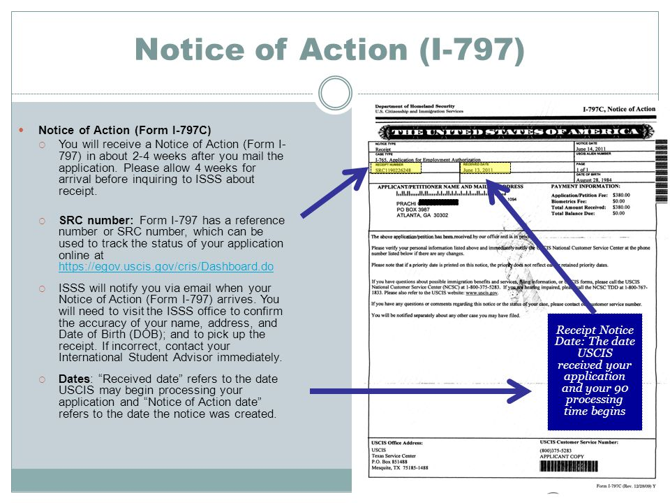 Notice of Action (I-797) Notice of Action (Form I-797C)