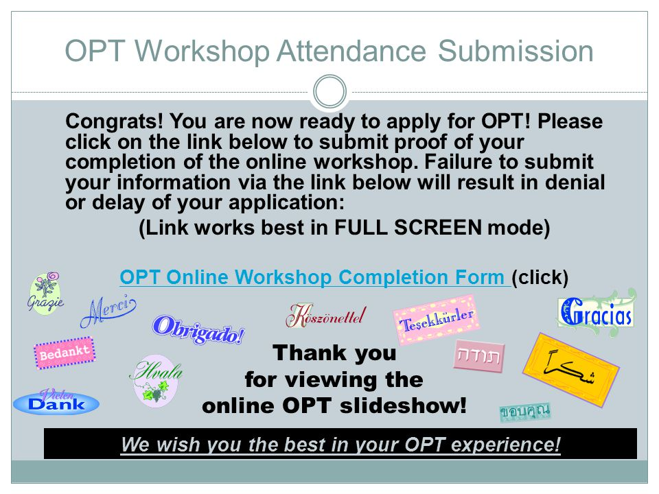 OPT Workshop Attendance Submission