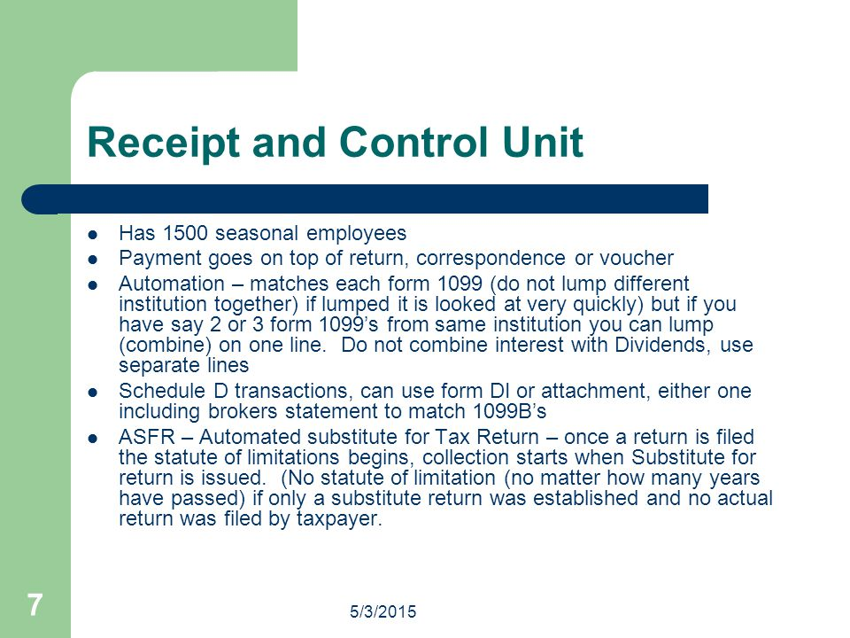 Receipt and Control Unit