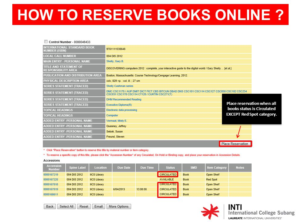 HOW TO RESERVE BOOKS ONLINE