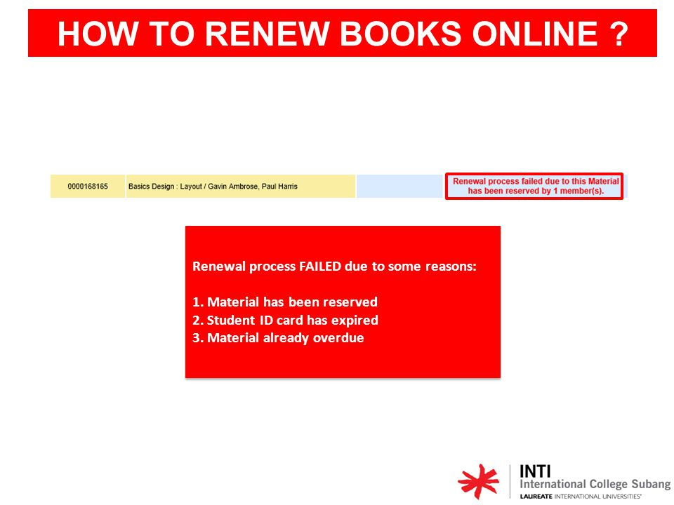 HOW TO RENEW BOOKS ONLINE