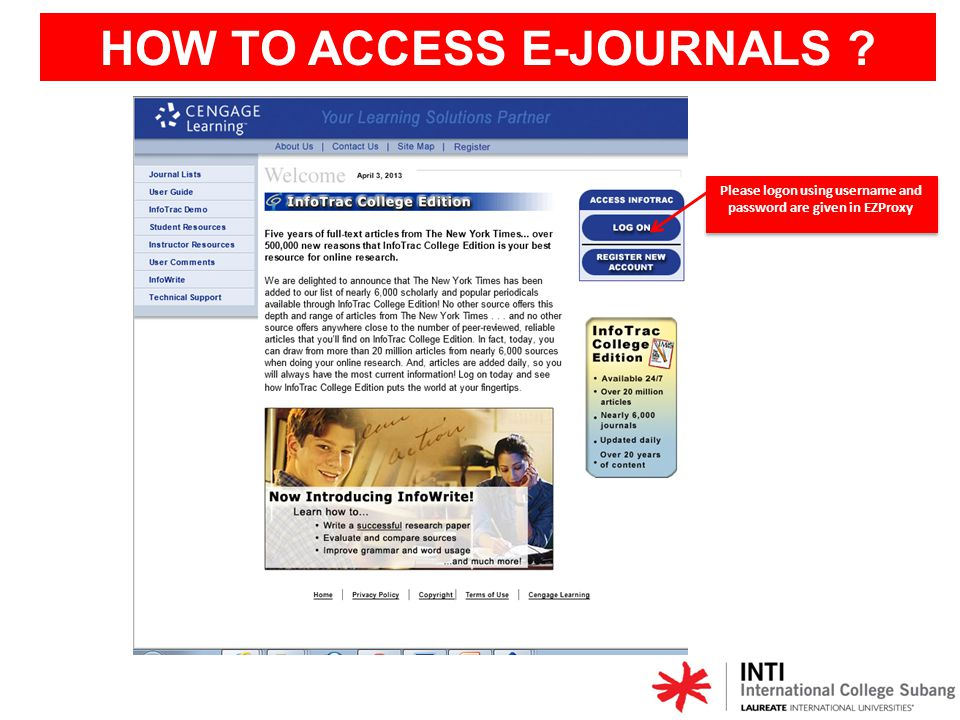 HOW TO ACCESS E-JOURNALS