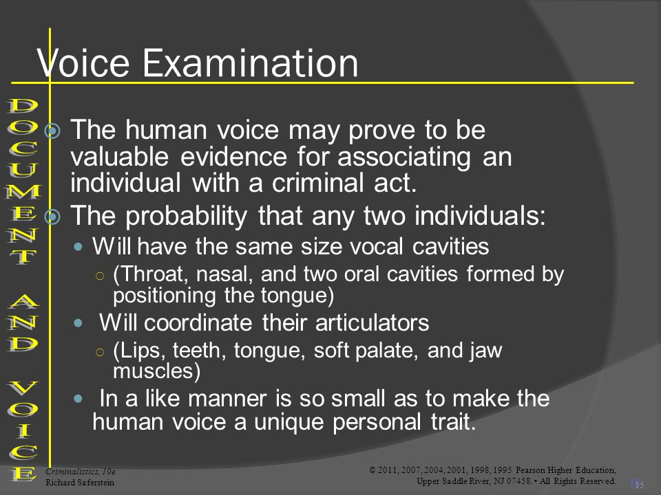 Voice Examination DOCUMENT AND VOICE