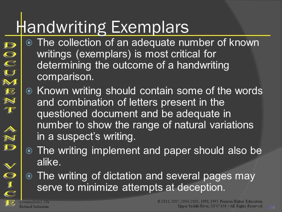 Handwriting Exemplars