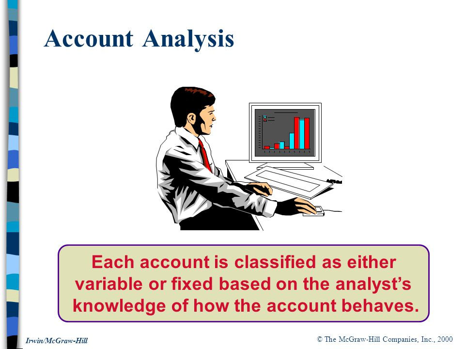 Account Analysis Each account is classified as either variable or fixed based on the analyst's knowledge of how the account behaves.