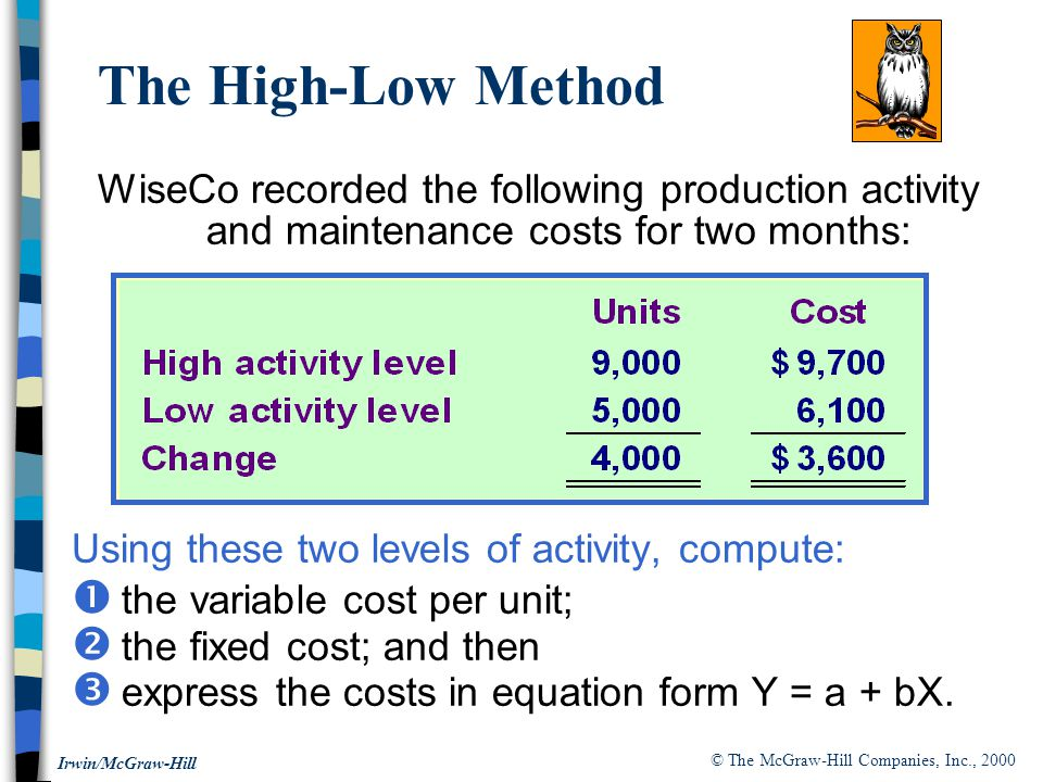 The High-Low Method WiseCo recorded the following production activity and maintenance costs for two months: